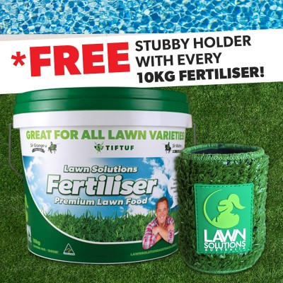 Lawn Solutions Premium Fertiliser 10kg - FREE STUBBY HOLDER